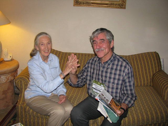 Michael McBride has a happy meeting with Jane Goodall at the 9th World Wilderness Congress in the Yucatan Mexico Nov 6-13, 2006.